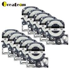 где купить Greateam 10pcs SS12K SS12KW LA-4WBN 12mm Black on White for King Jim and Epson Labelworks LW300 LW-600 LW-400 Label Maker Tape по лучшей цене