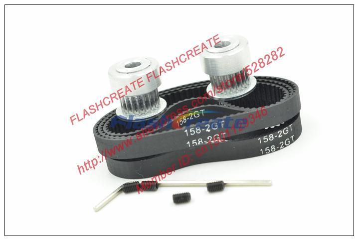2pcs 20 teeth GT2 Pulley Bore 5mm + 5pcs teeth 79 GT2 timing Belt length 158mm width 6mm 158-2GT-6 for 3D printer 158 2GT 6 belt