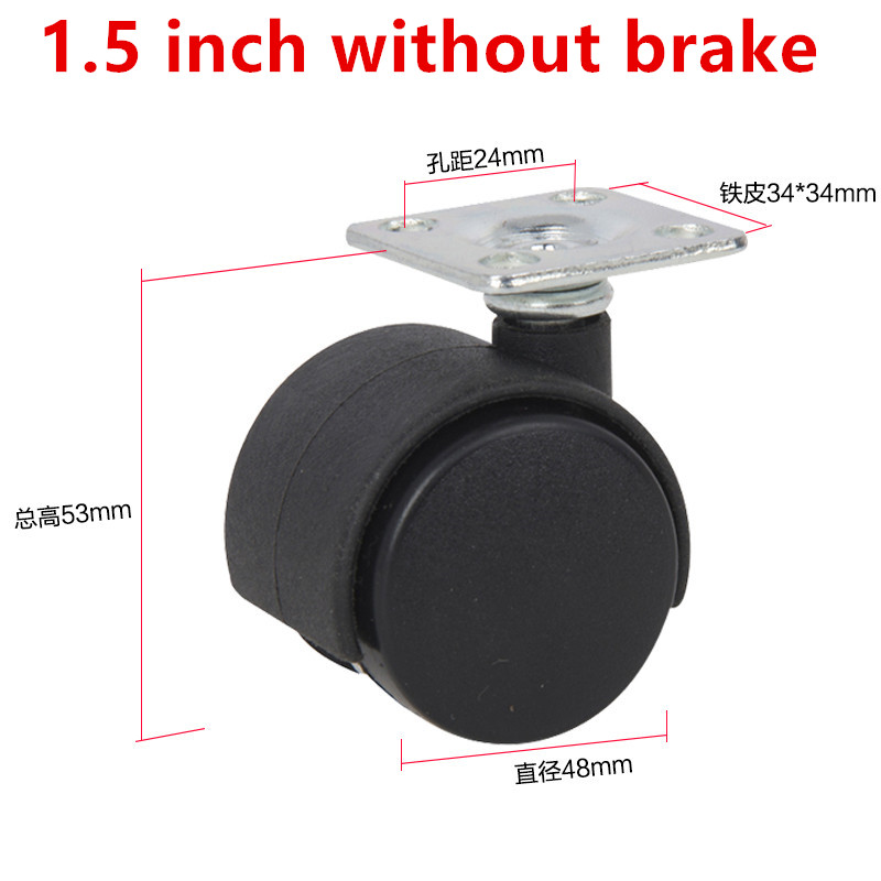 Dia.1.5 inch Omni-directional black wheel without brake furniture caster wheel 2pcs 2 inch omni directional flat black swivel nylon furniture caster wheel zinc alloy plate with brake