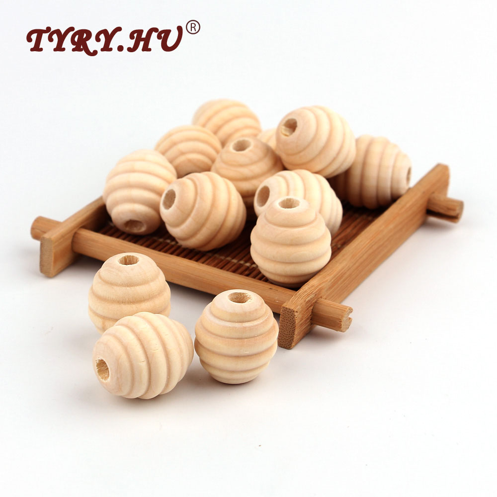 TYRY.HU BPA Free 5Pcs Round Wood Teether Bead Baby Teething Nursing Wood Teether Bead  For DIY Pacifier Clips Natural Wood Toys