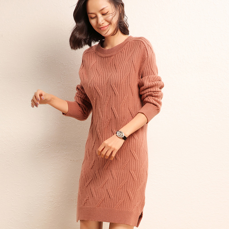 adohon 2018 womens winter Cashmere sweaters and auntmun women knitted Dresses Pullovers High Quality Warm Female O neck Solid in Dresses from Women 39 s Clothing