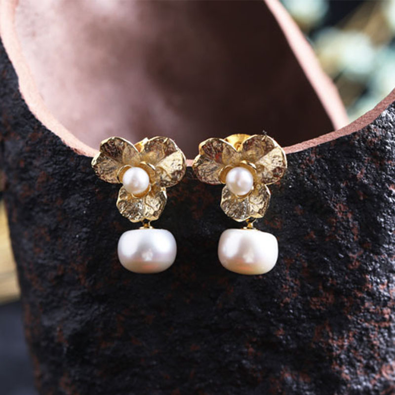 Lanseis Charm Flower Open Pearl Earrings, 1Pcs Unique Party, Wedding, Spring Style, Design Handmade Beautiful Jewelry For Women