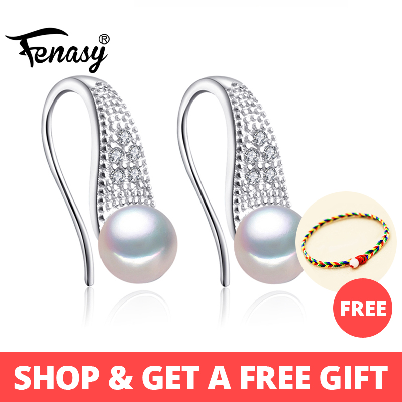 FENASY Stud-Earrings Jewelry Pearl 925-Sterling-Silver Freshwater Cubic-Zirconia Women