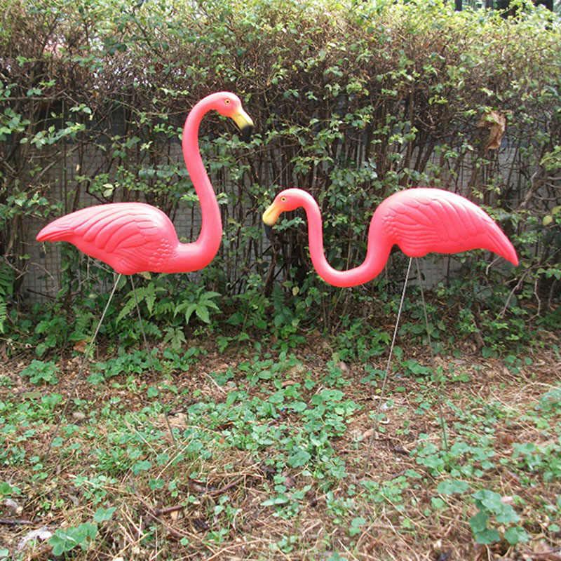2PCS Garden Flamingo Statue Sculptures Plastic Artificial ...