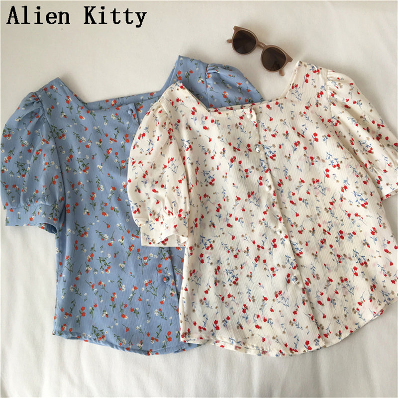 Alien Kitty  Korea Chic Women Print Elegant Loose Short Sleeve Fresh All-Match Simple Sweet Casual Shirt