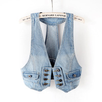 2018 Spring and Autumn Summer Vintage Fashion Slim Sleeveless Button Short Denim Vest Female Thin Jeans Jacket Womens Tops