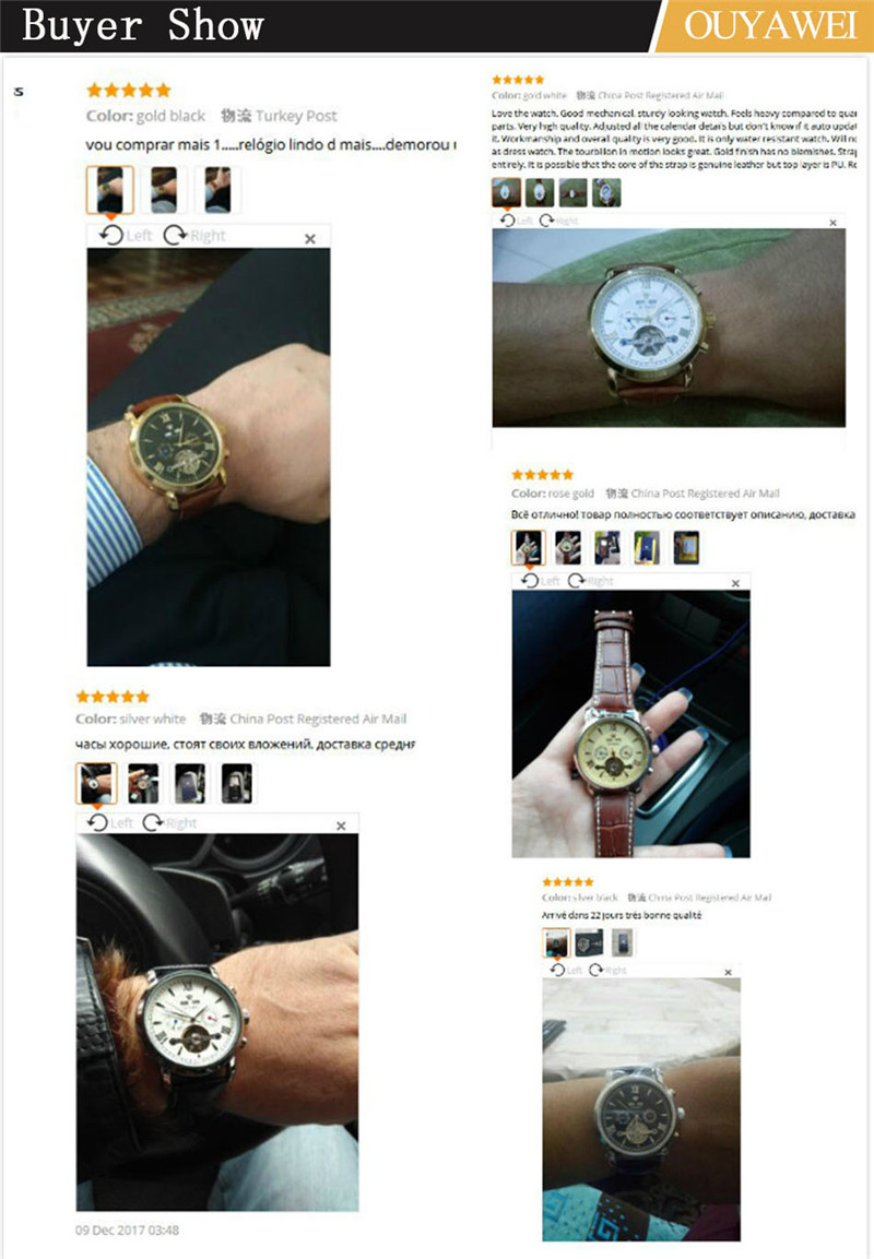 Mechanical Watch Mens Top Men\`s Automatic Mechanical Watches Wristwatch Leather watch relogio masculino (11)