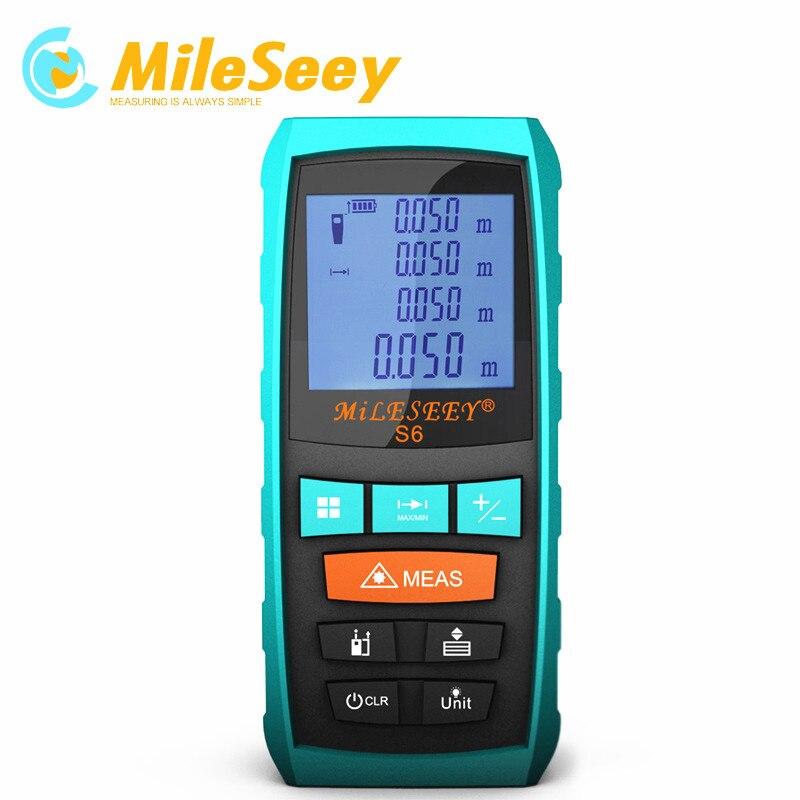 Laser Mètre de Distance Laser Mètre Fin-pièce Mileseey S6 60 m laser télémètre dragonne Bleu