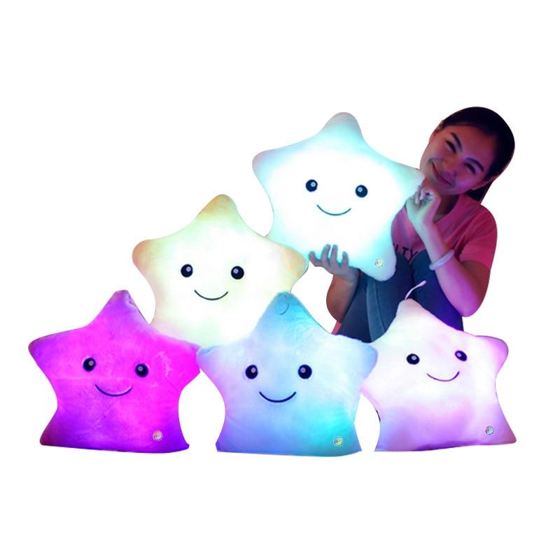 4035 Cm 1 PCs Stuffed Dolls Star Light Colorful Pillows Popular Plush Toys Baby, Girl 'S gift Colorful Luminous Pillow Stars Dol