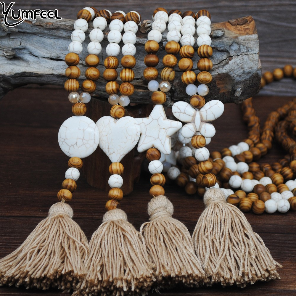 Yumfeel New Hand made Stone Jewelry Necklace White Butterfly Star Heart Stone Tassel Necklace Wood Bead Long Necklace Women Gift(China)