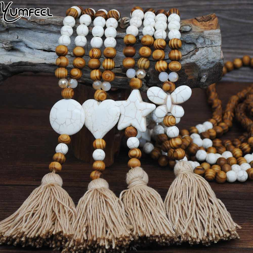 Yumfeel New Hand made Stone Jewelry Necklace White Butterfly Star Heart Stone Tassel Necklace Wood Bead Long Necklace Women Gift