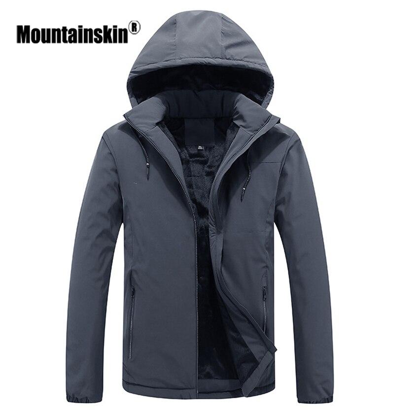 Mountainskin Mens Winter Hooded Jacket Warm Men Windbreaker Waterproof Outerwear Thick Fleece Jackets Brand Men Clothing SA472