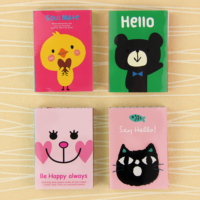 1PC Korean Fashion Stationery Small Animals 4 Fold N Times Sticky Notes Memo Pad Student Learning Supplies