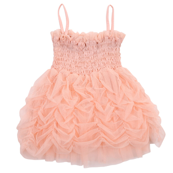 Fashion Summer Bubble Girl Dress Baby Girls Princess Dresses Ruffles Party Sleeveless Pink Dress 1-6Y Cute Baby Girl Clothes