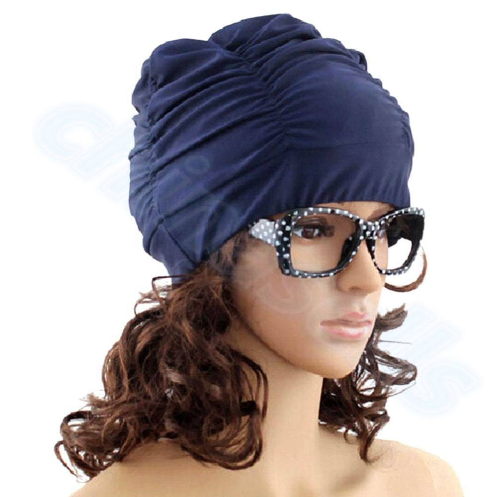 Sexy Lady Womens Girls Long Hair Swim Cap Stretch Hat Drape Bathing Swimming Cap Drape Stretch Sports Seaside Fold Swim hat peter stjernström geriausia knyga pasaulyje