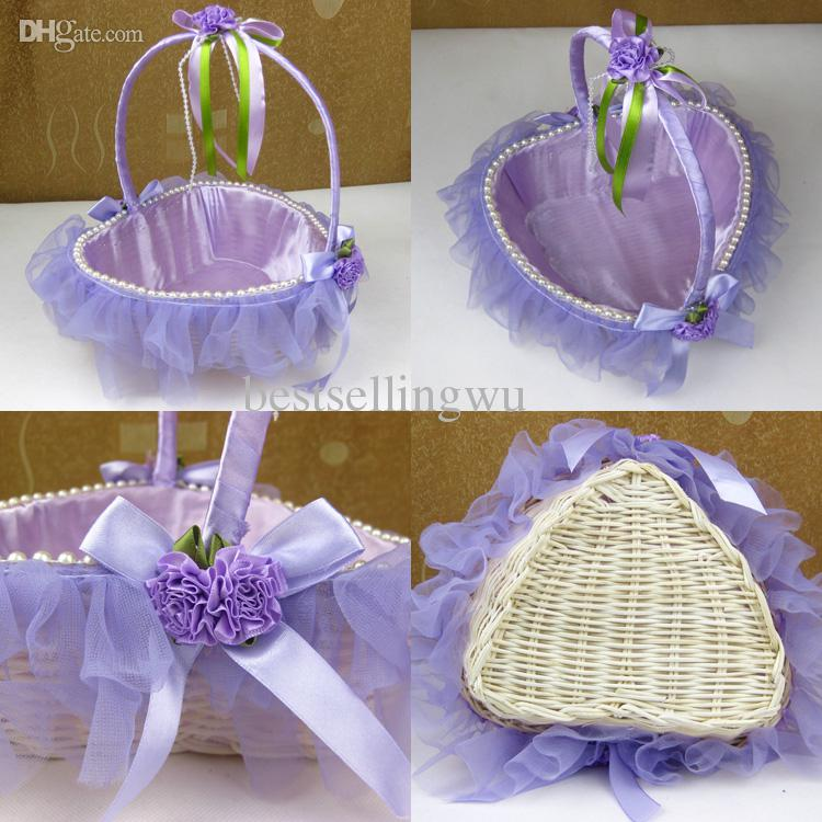 flower basket for wedding. white / red purple pink lace wedding ceremony flower girl basket bridesmaids portable romantic favors-in party favors from home for
