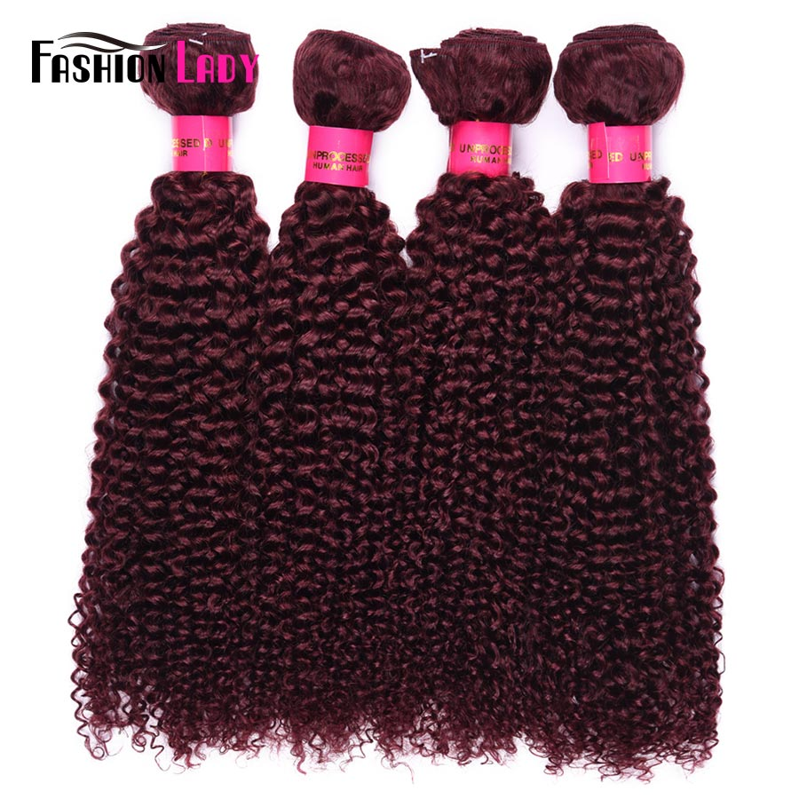 Fashion Lady Pre-colored Brazilian Hair Weaving 99j Bundles Dark Red Bundles Curly Weave Human Hair Extension 4 Bundles Non-remy