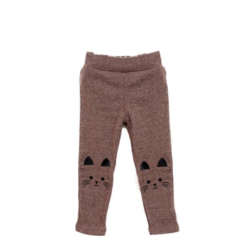 1 предмет, милые обтягивающие штаны для маленьких девочек, новые эластичные теплые леггинсы с принтом кота - Цвет: Коричневый