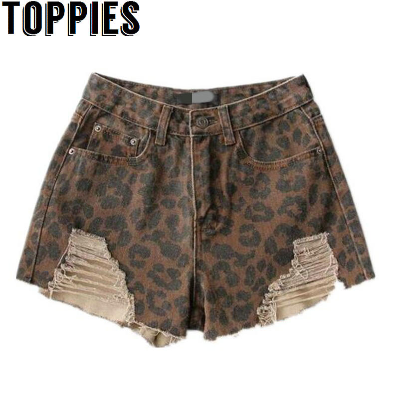 2019 Women Summer Sexy Leopard   Short   Jeans High Waisted Distressed Ripped Denim   Shorts