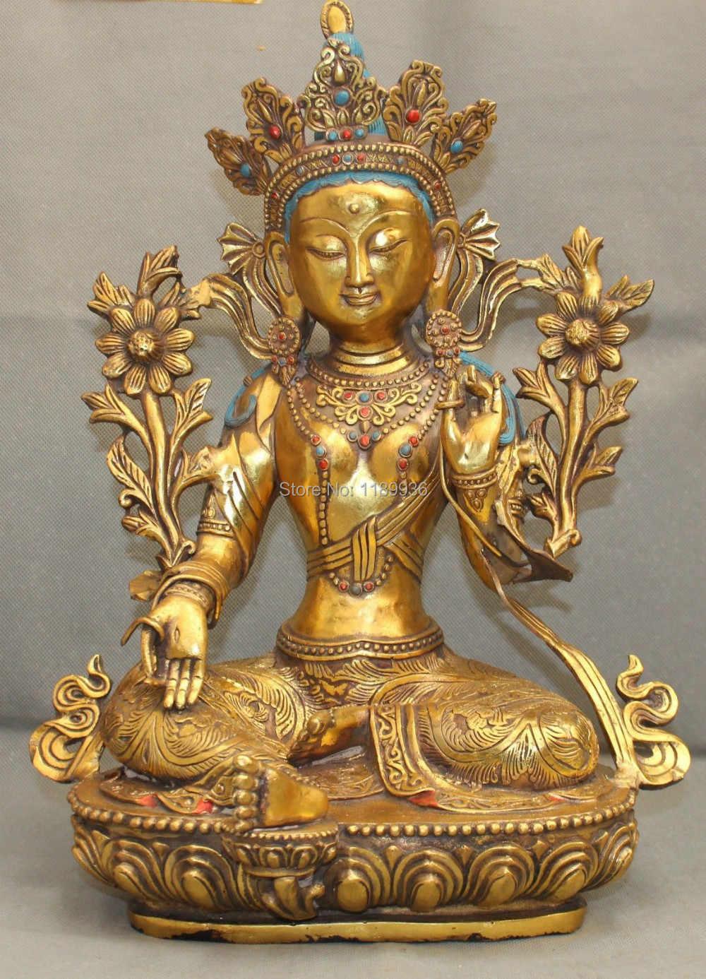 """20 """"Тибет Тибетский Буддизм Бронзовый свинка сиденья Зеленая Тара богиня статуя Будды"""