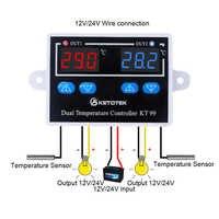 AC 220V 12V 24V Digital Dual Thermometer Temperatur Controller Thermostat Inkubator Steuerung Mikrocomputer Dual-Sonde