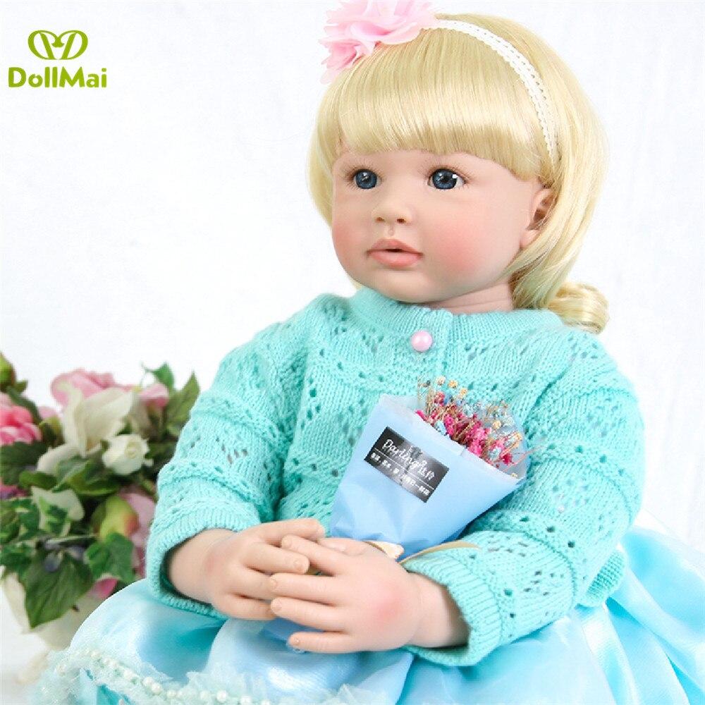 58 cm Gladde touch siliconen reborn party zoete realistische blonde prinses lucy baby pop meisjes of jongen verjaardagscadeau bebe reborn-in Poppen van Speelgoed & Hobbies op  Groep 2