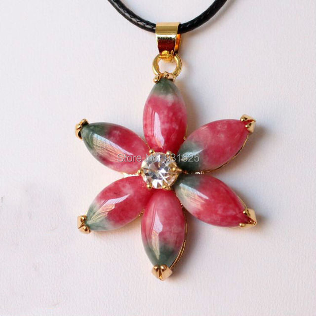 Wonderful hand-carved Multicolor TaoHua Jade Star Flower pendant Chinese natural Jade Pendants Necklace Fashion Jewelry
