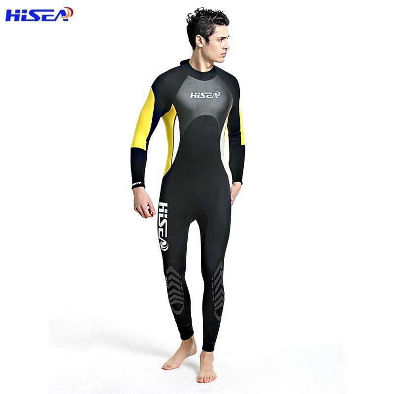 Hisea Men Diving Suit 3MM Neoprene Wetsuit One Piece Prevent UV Jellyfish Suit Triathlon Surf Wet