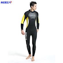 Hisea Men Diving Suit 3MM Neoprene Wetsuit One Piece Prevent UV Jellyfish Suit Triathlon Surf Wet Suit Swimsuit Full Bodysuit new scr neoprene 3mm camouflage one piece diving suit surf suit warm waterproof wetsuit for male size s xxl