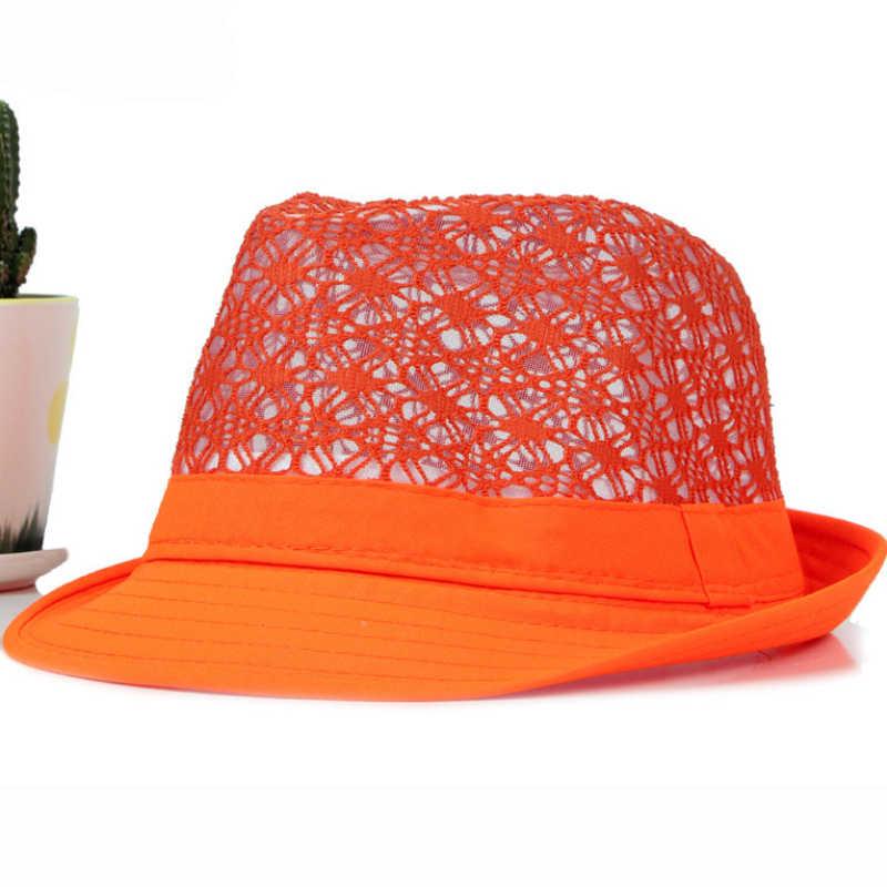 9c18cd29e2d07 HT1581 Spring Summer Men Women Hat Unisex Wide Brim Fedora Hat Neon Colors  Derby Trilby Jazz