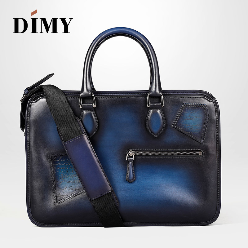 DIMY Genuine Cow Patch Briefcases For Men Handmade Vintage Style Man's Shoulder Bag Leather Laptop Bags Business Case Totes