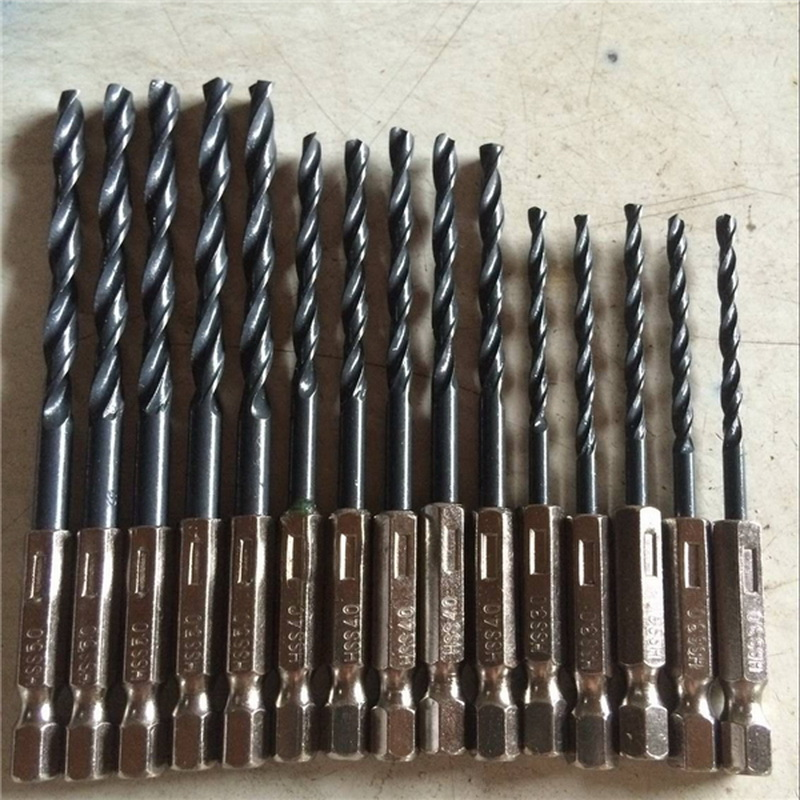 15pcs HSS Twisted Drill Bit Set Steel Nitride Saw Set 1/4 Hex Shank Black Drill Power Tools /3mm 4mm 5mm