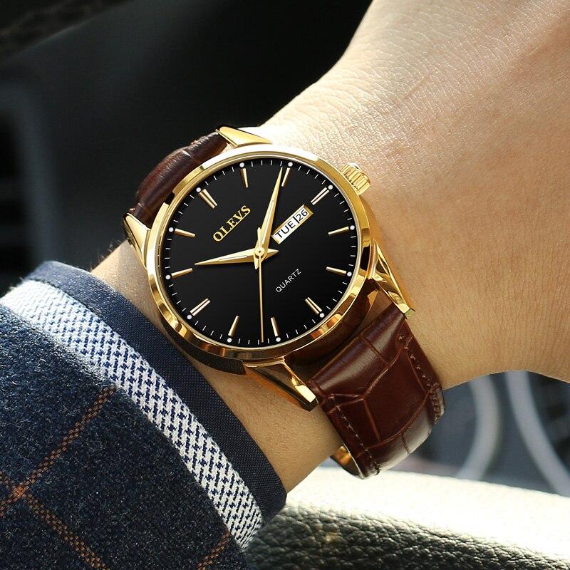 OLEVS Mens Watches Top Brand Luxury Waterproof 24 hour Date Quartz Watch gold Man Leather Sport Wrist Watch Men Waterproof Clock