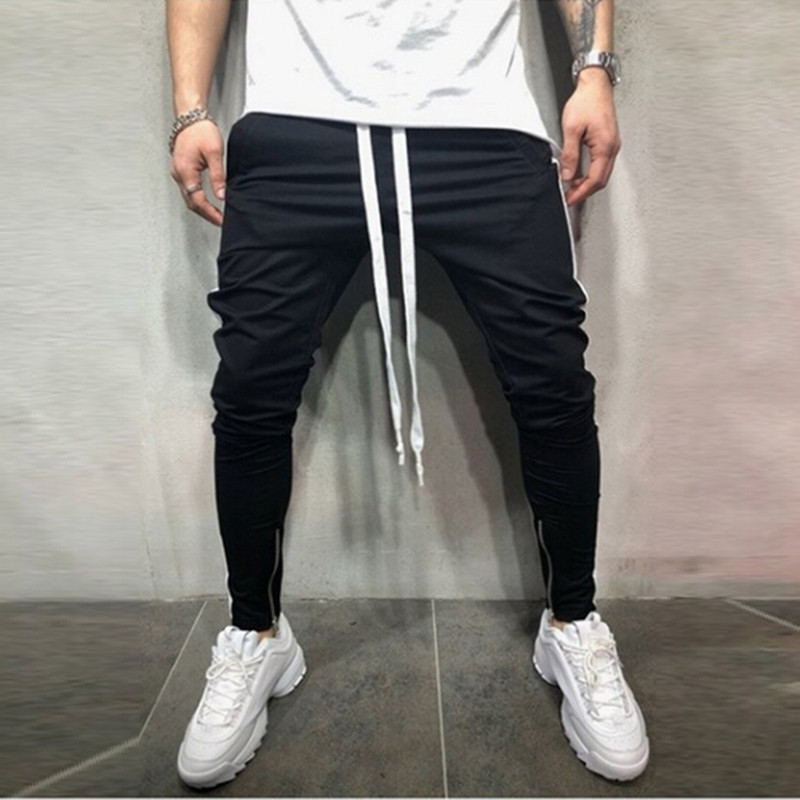 Explosion Models men's Casual Lace Up Pants Color Matching Hip Hop Stripe Fitness Foot Zipper Stitching Trousers