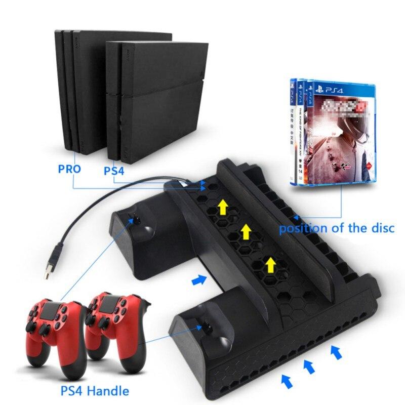 Support Vertical de Base de refroidissement de haute qualité pour PS4 Slim/PS4/PS4 PRO avec contrôleur de ventilateur de refroidissement Station de charge Hub de Port USB