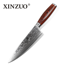 XINZUO 7.8 inch chef knives Excellent 10Cr15CoMoV core Damascus steel kitchen knife kitchen tool pakka wood handle Free shipping