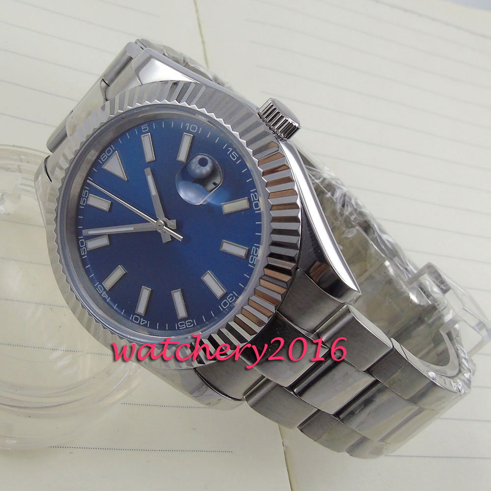 Chegam NOVAS 40mm parnis mostrador azul Estéril nenhum logotipo Marca de Luxo em aço Inoxidável Automático dos homens de negócios Relógio Mecânico relógio