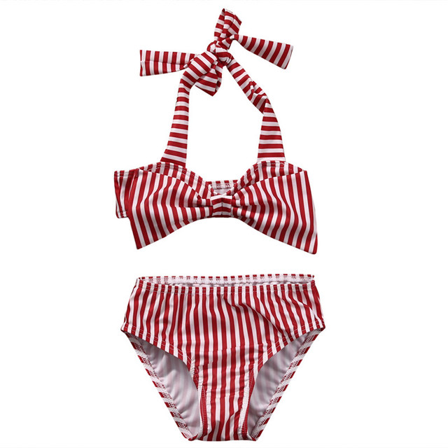 7971716064d19 Summer Cute Baby Girl Kid Two-piece suit Striped Bikini Set Swimwear  Swimsuit Bathing Suit Red Striped Halter Swimwear Beachwear