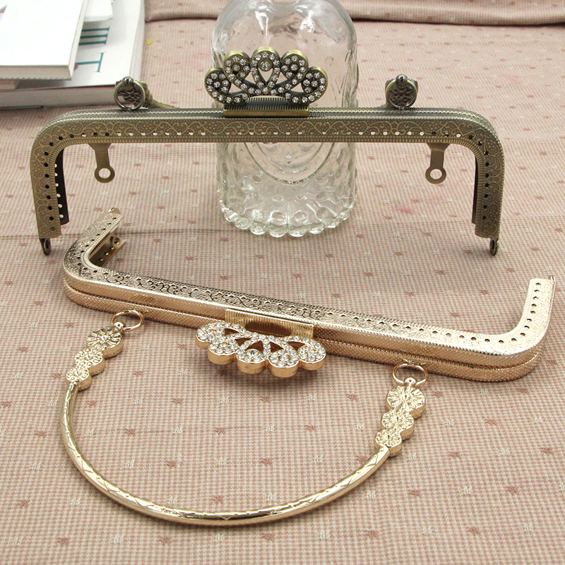 Manual Diy Pearl Head Case Export Of Gold 19x12cm Case Package Will Mouth Hinge Buy Full Package Send Paper Type Purse Frame Bag Parts & Accessories