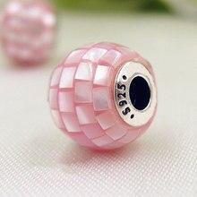 Одежда высшего качества 925 стерлингового серебра бисера очарование сострадание розовый суть перламутр мозаики шарики подходят Pandora украшения