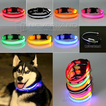 USPS Shipping 8 Color S M L Size Glow LED Dog Pet Cat Flashing Light Up Nylon Collar Night Safety Collars Supplies Dropship