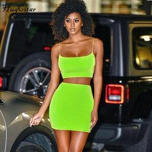 Image 2 - Hugcitar paski spaghetti sexy camis spódnica 2 dwuczęściowy zestaw 2019 lato kobiety moda neon zielony pomarańczowy stałe imprezowy streetwear