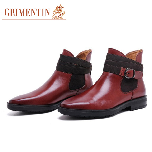 5822752bbba00 GRIMENTIN buckle strap boot men genuine leather black brown mens ankle boots  shoes for man business office shoes 2018 new