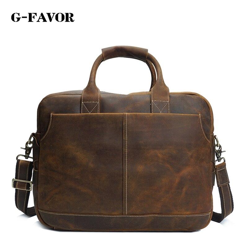 G-FAVOR Genuine Leather Men Bag Crazy Horse Leather Men's Handbags Casual Business Laptop Shoulder Bags Briefcase Messenger bag все цены