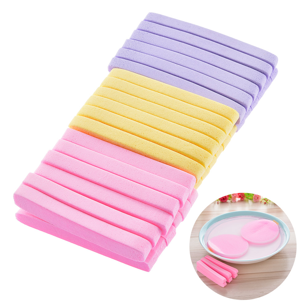 12pcs/set Beautiful yellow color soft makeup sponge Magic Face Cleaning Wash Pad Puff Seaweed Cosmetic Puff Cleansing for face