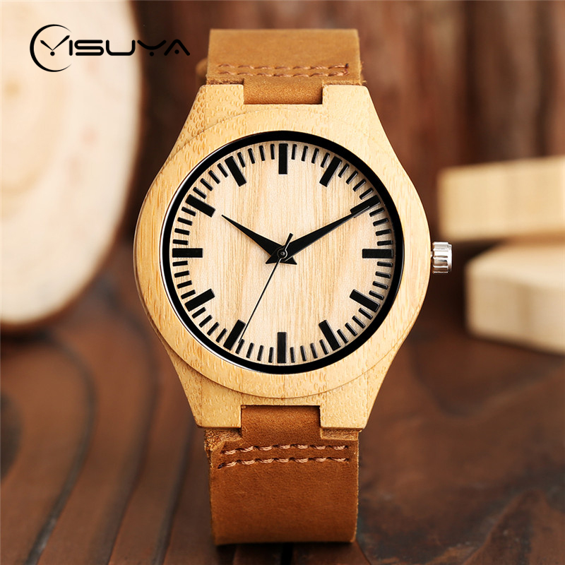 YISUYA Wood Watch Mens Minimalist Wrist Watch Fashion Bamboo Wooden Watches Leather Quartz Sports Clock Reloj de madera Clock fashion top gift item wood watches men s analog simple hand made wrist watch male sports quartz watch reloj de madera