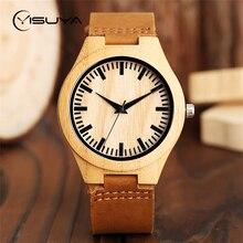 YISUYA Wood Watch Mens Minimalist Wrist Watch Fashion Bamboo Wooden Watches Leather Quartz Sports Clock Reloj de madera Clock