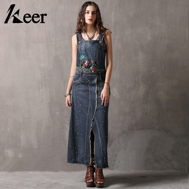 9bb1f3b49e7 Keer Qiaowa Denim Overalls Dress Women Suspenders Vintage Floral Embroidery  Ankle Length Long Maxi Women Dress Summer 2018 New