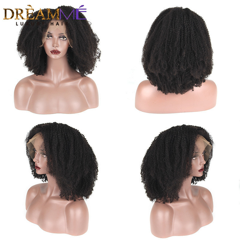 Lace Front Human Hair Wigs Afro Kinky Curly Brazilian 360 Lace Frontal Wig Pre Plucked With