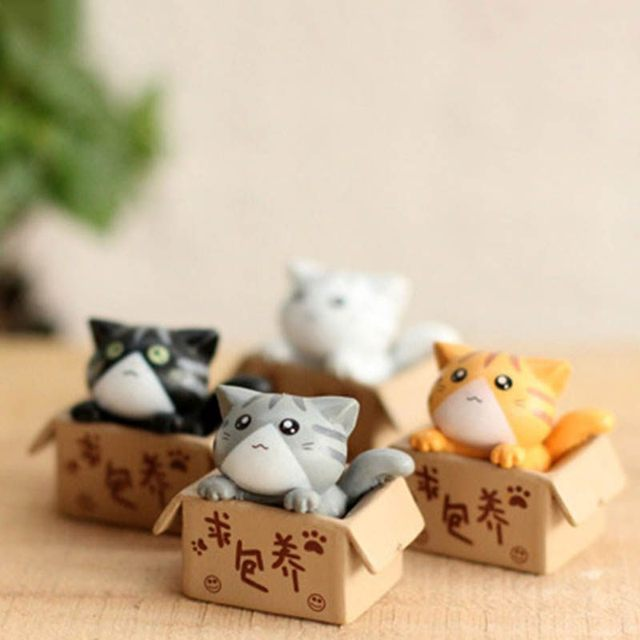 Landscape Kawaii Mini Cat in Box (4 pcs)